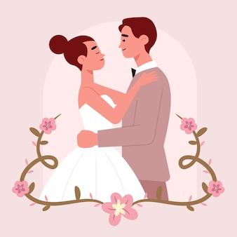 Adorable couple de mariage plat
