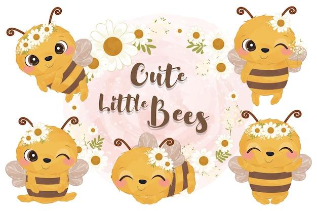 Adorable ensemble d'illustration de petites abeilles
