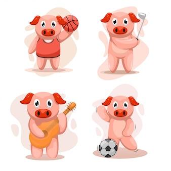 Adorable ensemble de porcs