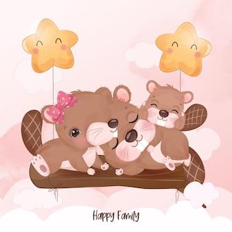 Adorable famille de castors en illustration aquarelle
