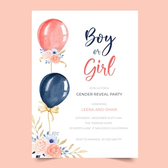 Adorable fête dévoilent une invitation avec illustration de ballon floral aquarelle