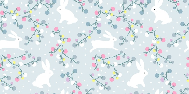 Adorable illustration florale et lapin en jacquard sans soudure