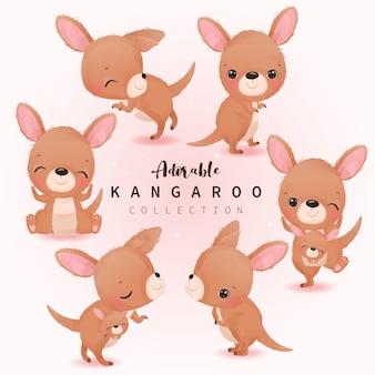 Adorable illustration de kangourou à l'aquarelle pour la décoration de la pépinière