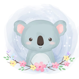 Adorable illustration de koala aquarelle
