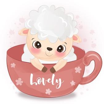 Adorable illustration de moutons à l'aquarelle