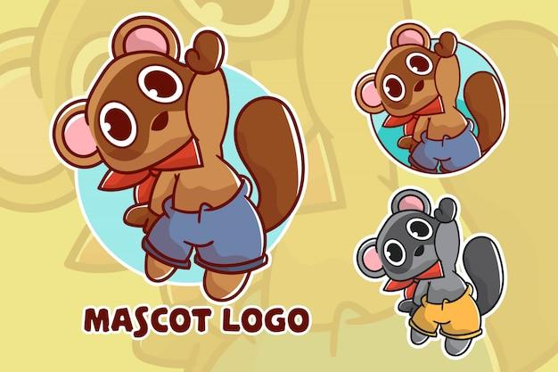 Adorable logo de mascotte de raton laveur avec apparence en option
