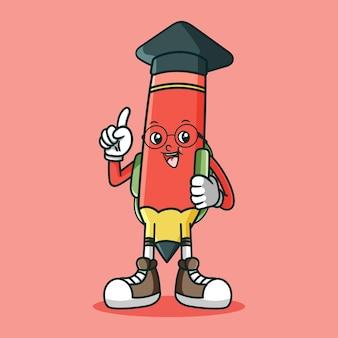 Adorable Mascotte De Crayon Avec Sac Et Toge Vecteur Premium
