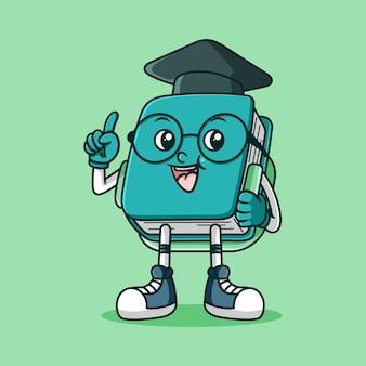 Adorable mascotte de livre avec sac et toge