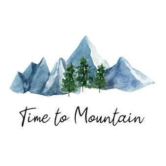 Adorable montagne aquarelle peinte à la main et sapin.