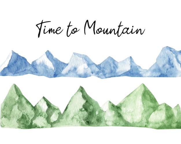 Adorable montagne horizontale aquarelle peinte à la main