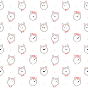 Adorable motif répétitif sans couture de husky sibérien, fond de papier peint, fond de modèle sans couture mignon