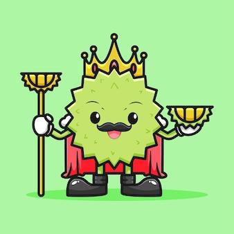 Adorable motif roi durian avec bâton et durian
