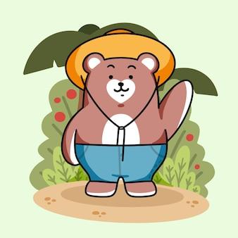Adorable ours sur le terrain saluant l'illustration vectorielle premium de griffonnage