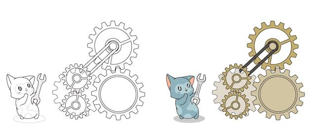 Adorable page de coloriage de dessin animé de chat ingénieur pour les enfants