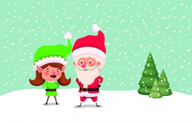 Adorable père noël et fille assistant dans le paysage de neige