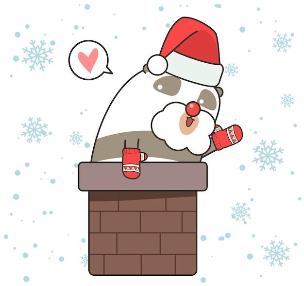 Adorable personnage de panda dans la cheminée
