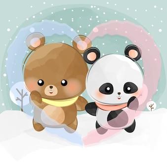 Adorable petit ours et panda amour