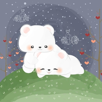 Adorable petit ours polaire embrasse un autre ours polaire