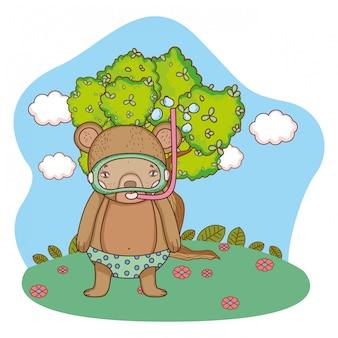 Adorable petit ourson avec tuba dans le champ
