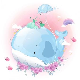 Adorable petite baleine avec son premier vol d'entraînement avec ballon dans un ciel lumineux.
