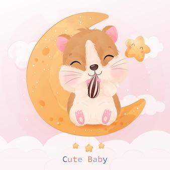 Adorable petite illustration de hamster à l'aquarelle