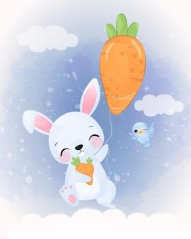 Adorable petite illustration de lapin à l'aquarelle