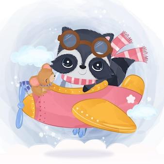 Adorable raton laveur volant avec un avion en illustration aquarelle