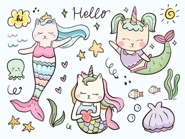 Adorable sirène et dessin animé animal marin