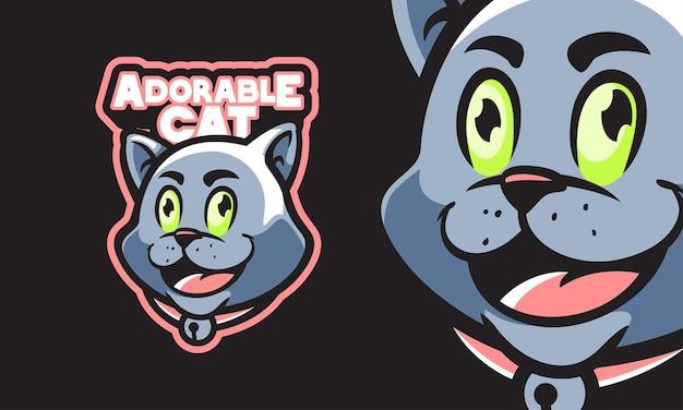 Adorable tête de chat mascotte vector illustration
