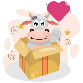 Adorable vache avec vecteur de dessin animé ballon et boîte