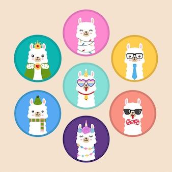 Adorables autocollants emblèmes d'insignes de cercle de tête de lama kawaii