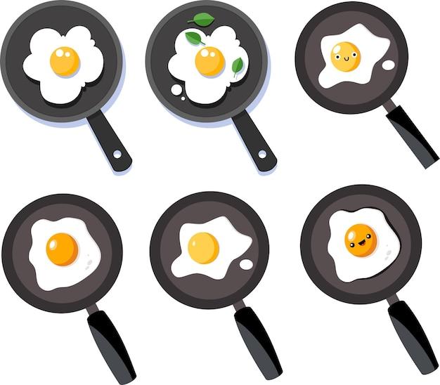 Adorables casseroles en téflon pour le petit-déjeuner avec du jaune d'œuf frit