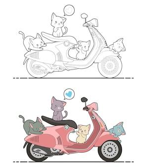 Adorables chats aiment la page de coloriage de dessin animé de moto pour les enfants