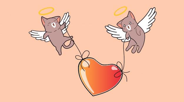 Adorables chats cupidon soulèvent le grand coeur sur rose
