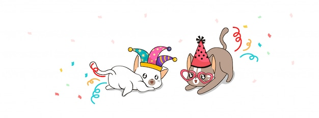 Adorables chats en illustration de festival de fantaisie
