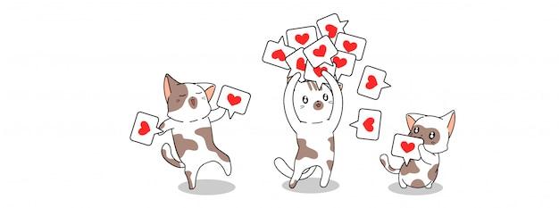 Adorables chats et illustration d'icône aimée