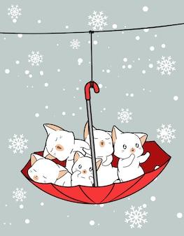 Adorables chats à l'intérieur d'un parapluie rouge avec flocon de neige