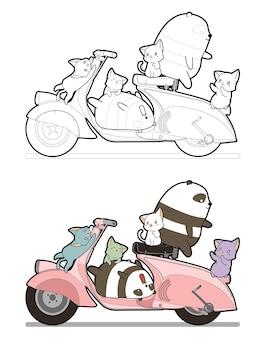 Adorables chats et pandas aiment la page de coloriage de dessin animé de moto pour les enfants