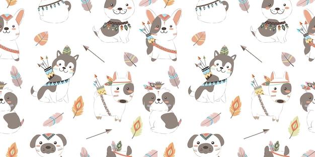 Adorables chiots boho en seamless pattern