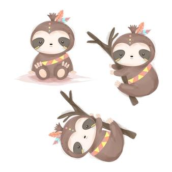 Adorables cliparts de paresse tribale