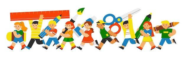 Les adorables élèves sont de retour à l'école avec des fournitures artistiques. retour à l'illustration du concept de l'école.