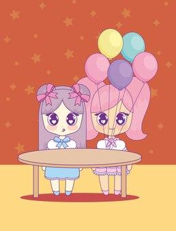 Adorables filles kawaii avec des ballons à l'hélium