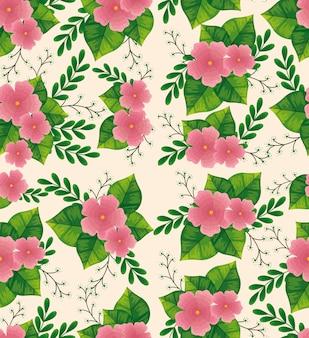 Adorables fleurs roses avec motif de feuilles