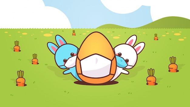 Adorables lapins avec un œuf portant un masque pour empêcher le coronavirus joyeux lapin de pâques autocollant