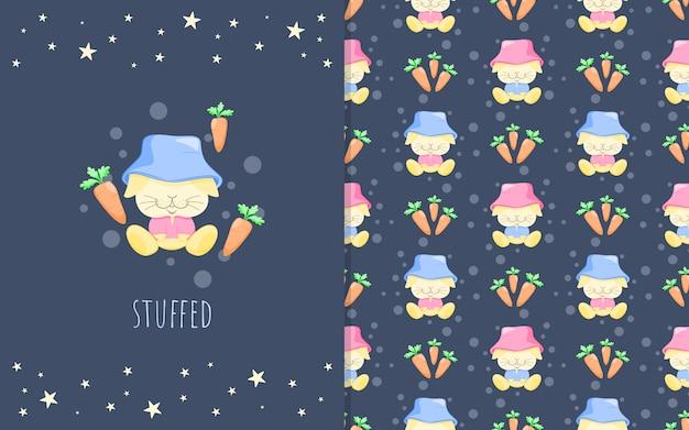 Adorables petits dessins animés de lapin avec des carottes, illustration et modèle sans couture