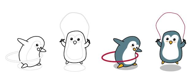 Adorables pingouins exercent la page de coloriage de dessin animé pour les enfants
