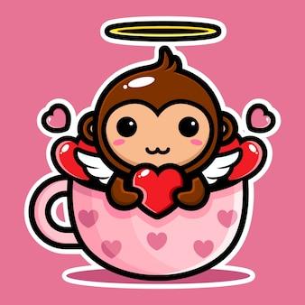 Adorables singes cupidon trempant dans la tasse d'amour