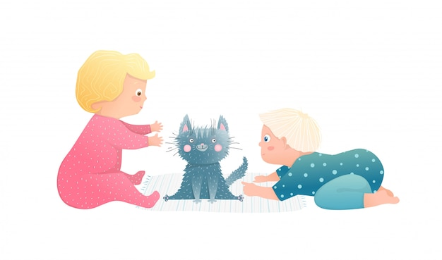 Adorables Tout-petits Enfants Garçon Et Fille Jouant Avec Un Chaton Chiot Ensemble. Vecteur Premium