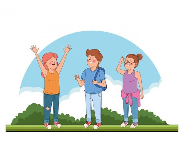 Ados amis au parc dessins animés