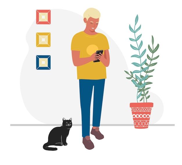 Adule mâle parcourant son illustration de téléphone mobile